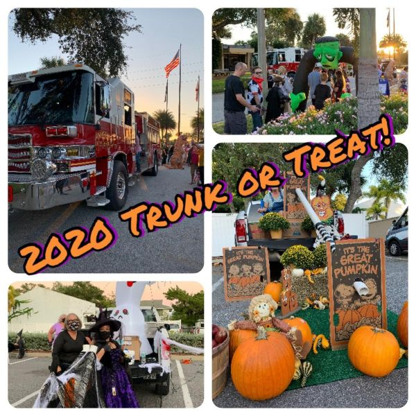 group of photos showing firetruck, decorated trunks and people dressed up for halloween in costumes