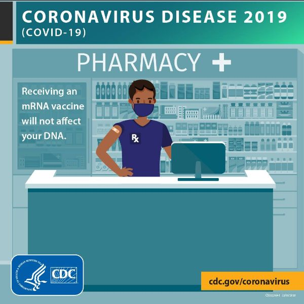 """man behind pharmacy counter. """"Coronavirus disease 2019 (COVID-19). Receiving a mRNA vaccine will not affect your DNA."""
