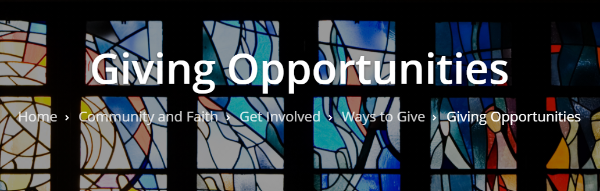 A contemporary stained glass church window, with title: Giving Opportunities