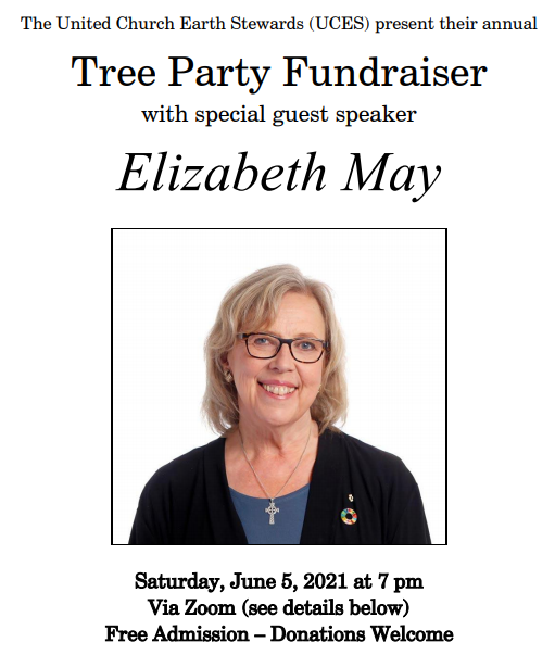 Tree Party Fundraiser with special guest speaker Elizabeth May. Photo of a woman with blond hair and black glasses, blue blouse and black sweater, with a silver cross necklace.