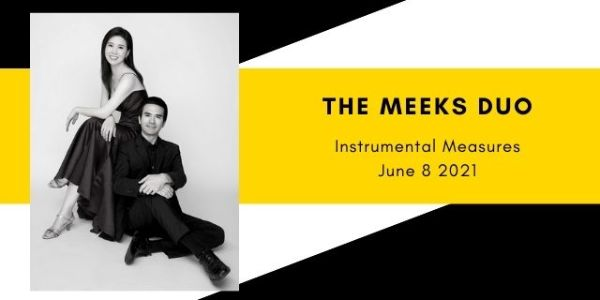 An Asian man and woman dressed formally in black and seated casually with a white background. Yellow and black graphic, with title: The Meeks Duo