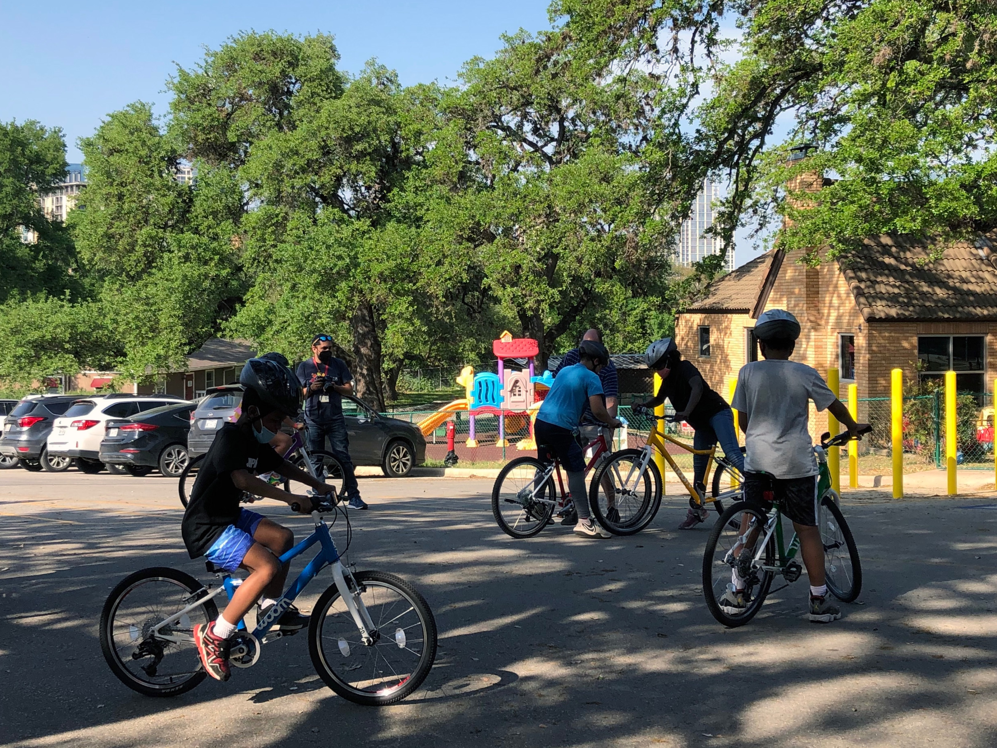 Students went for a spin on the woom bikes on the TSD road in front of PIP.