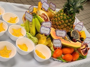 A platter full of fruits is shown, including pineapple, papaya, dragon fruit, bananas, star fruit, and a few more.  The fruits are labeled.  Next to the platter are individual cups of slices of the star fruit.