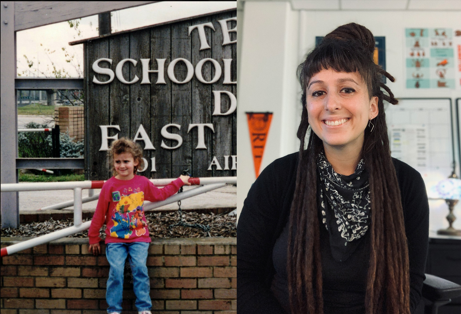 Side-by-side photos of Estefani Garrison are shown.  She is smiling in both photos,  the left showing her as a little girl and the right showing her in present time as an adult.  In the older picture, Stephanie is standing in front of a sign that is partially visible, but it is clear that she is standing at the entrance to TSD's East Campus.  In her present-day photo, she is a classroom in CTE where she now teaches.