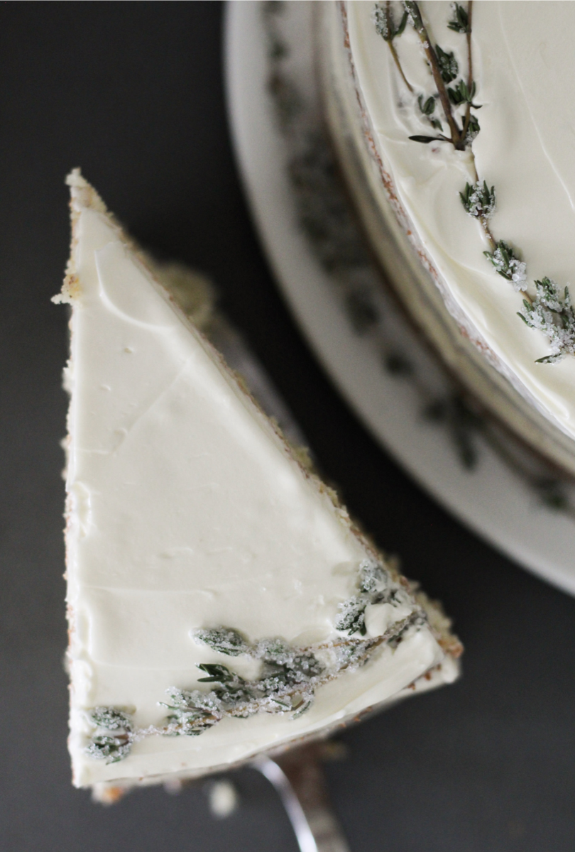 a slice of sumac and thyme cake