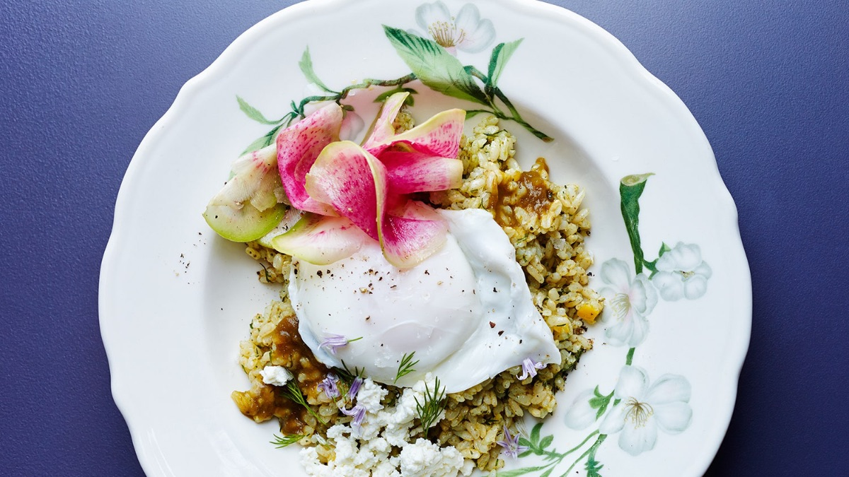 Sorrel Rice Bowls with Poached Eggs and Preserved Lemons