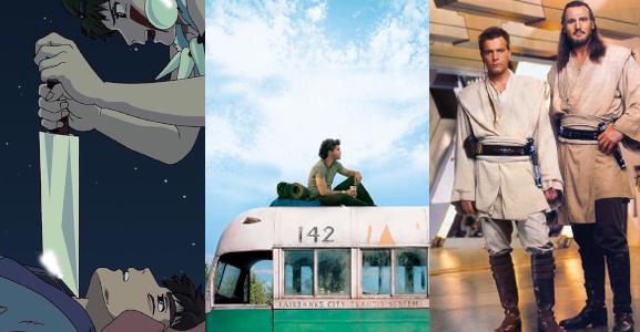 A collage of three stills from three films
