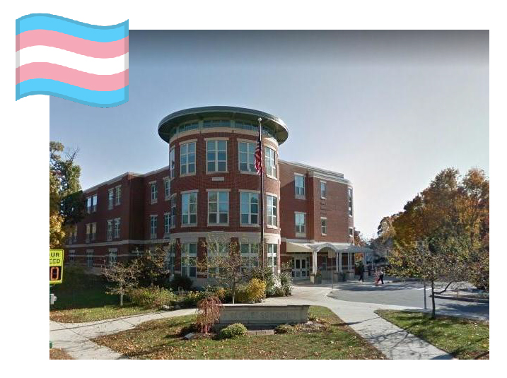 Peirce School image with trans flag