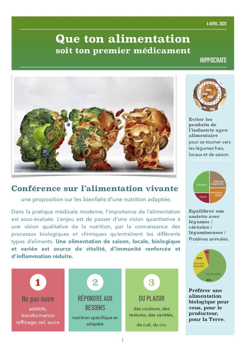 conférence alimentation vivante santé