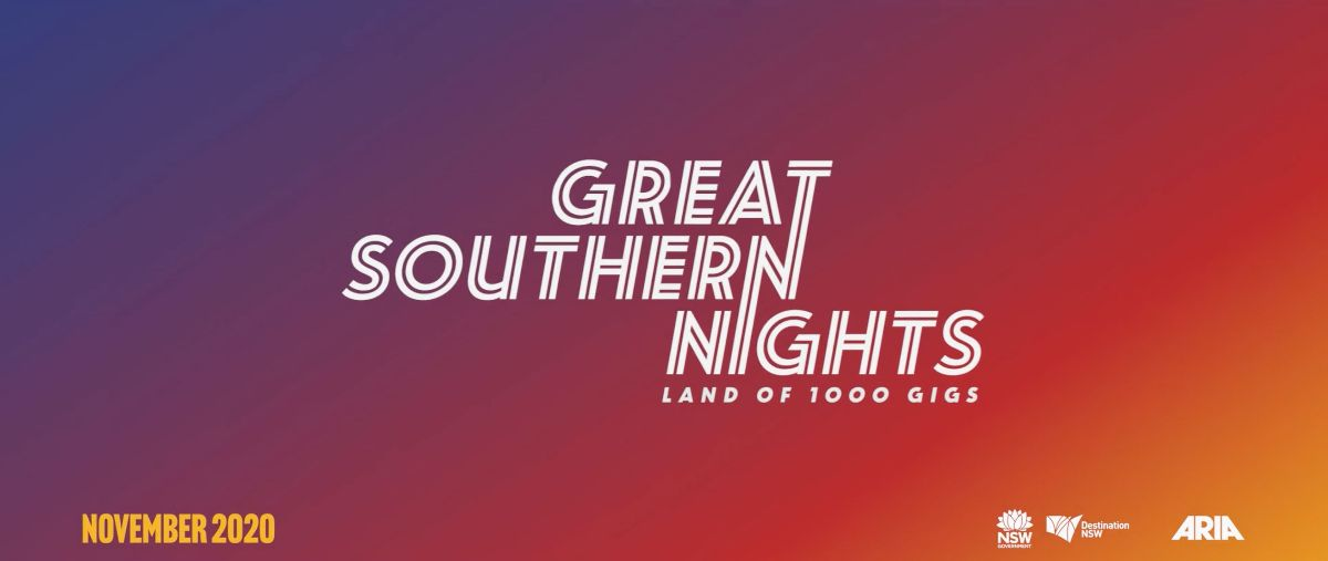 Great Southern Nights logo on a gradient red, purple and yellow background