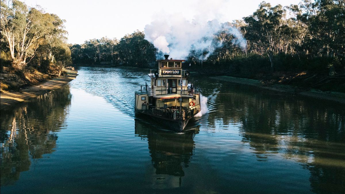 Paddlesteamer Emmylou cruising along the Murray River near Echuca-Moama