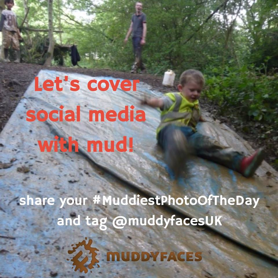 child sliding down a muddy tarpaulin with text Let's cover social media with mud!