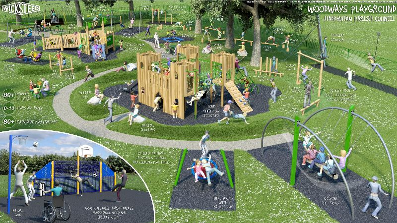 layout for new equipment at Woodways playground, showing a wooden fort at the centre