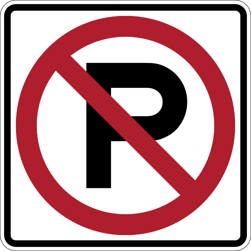 'no parking' road sign