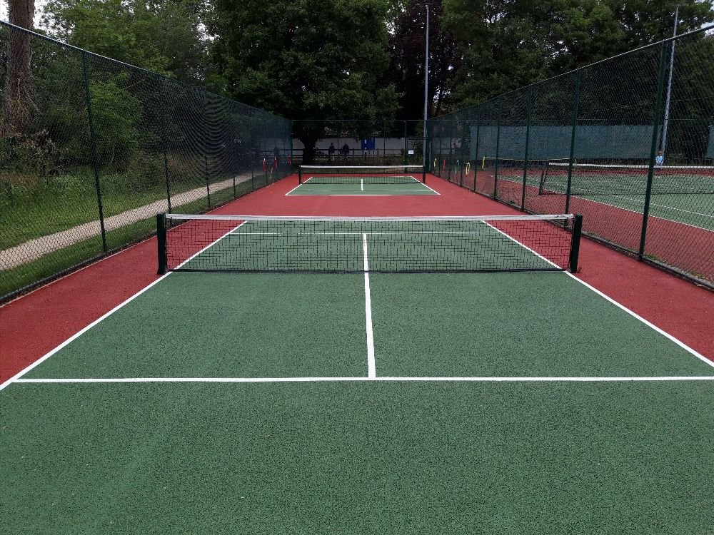 mini-tennis courts freshly painted