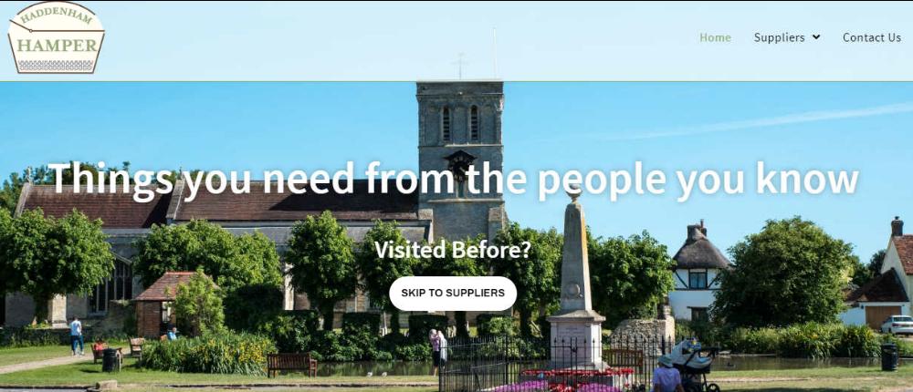 screenshot of 'haddenham hamper' website
