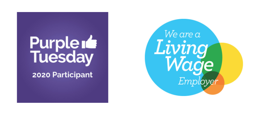 Logos reading 'Purple Tuesday 2020 Participant' and 'We are a Living Wage Employer'