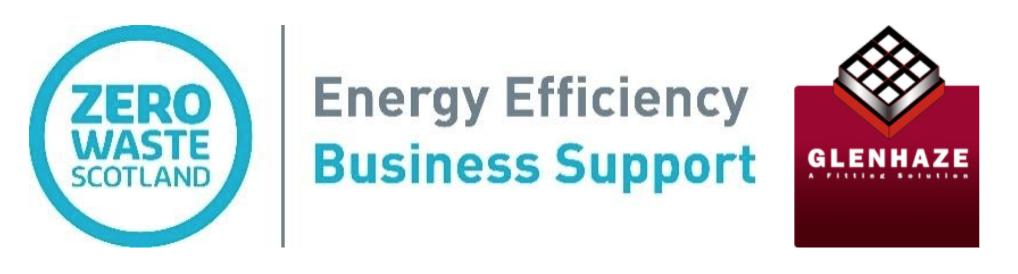 Logos reading 'Zero Waste Scotland - Energy Efficiency Support Service' and 'Glenhaze'