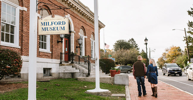 couple outside Milford Museum