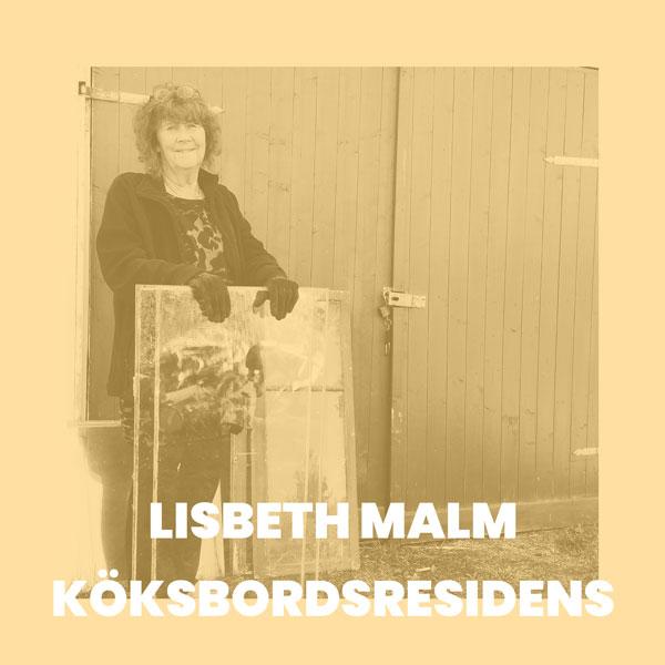 Foto av Lisbeth Malm, monokrom bild i gul-beiga toner.