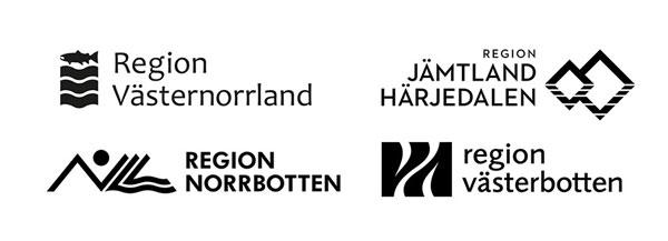 Logotyper för Region Västernorrland, Jämtland Härjedalen, Norrbotten och Västerbotten.