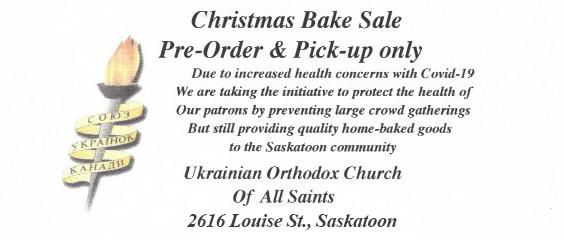 UWAC Hanka Romanchych Christmas Bake Sale items for pre-order
