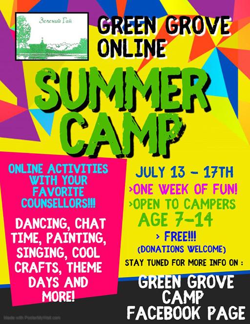 Green Grove Online Summer Camp poster
