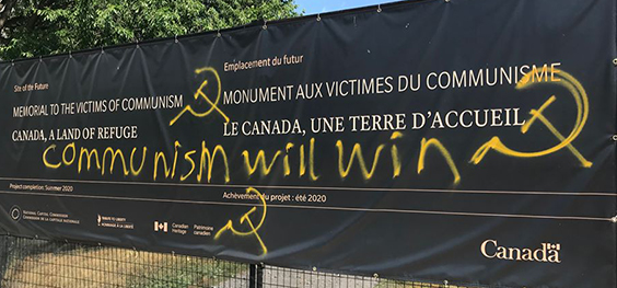 Memorial to the Victims of Communism - vandalized sign