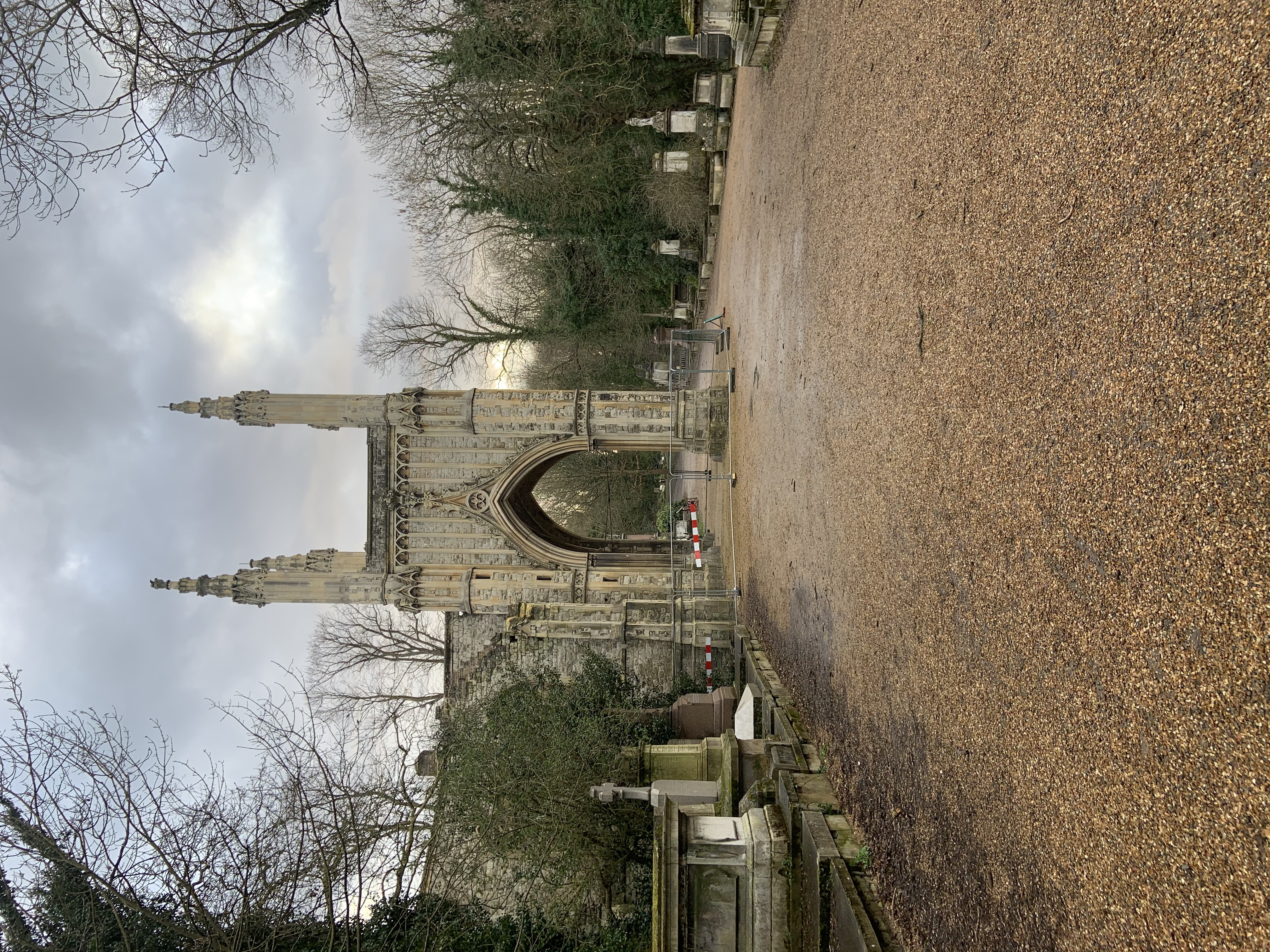 Side view of Anglican Chapel in Nunhead Cemetery