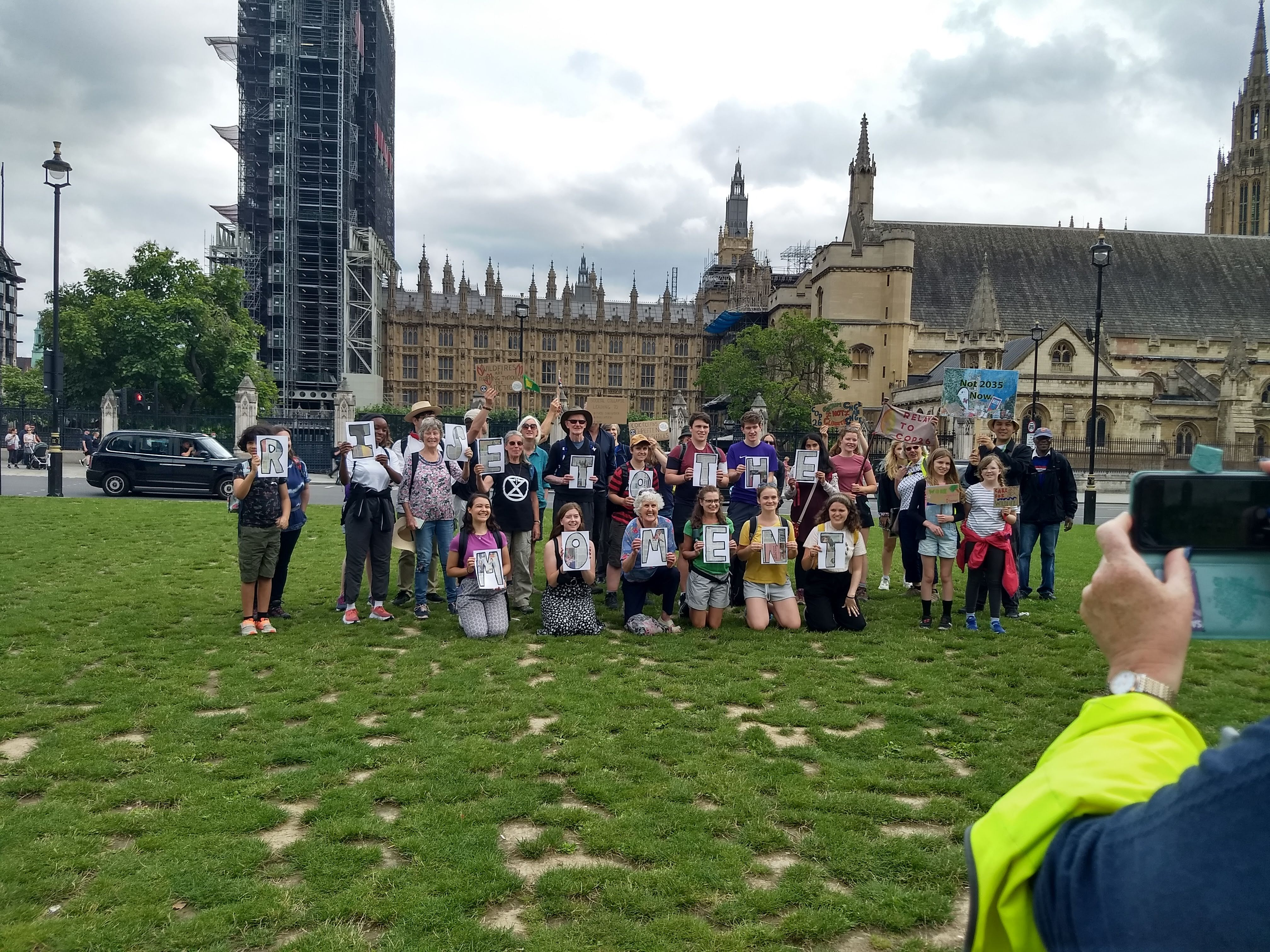 YCCN climate walkers outside the Houses of Parliament