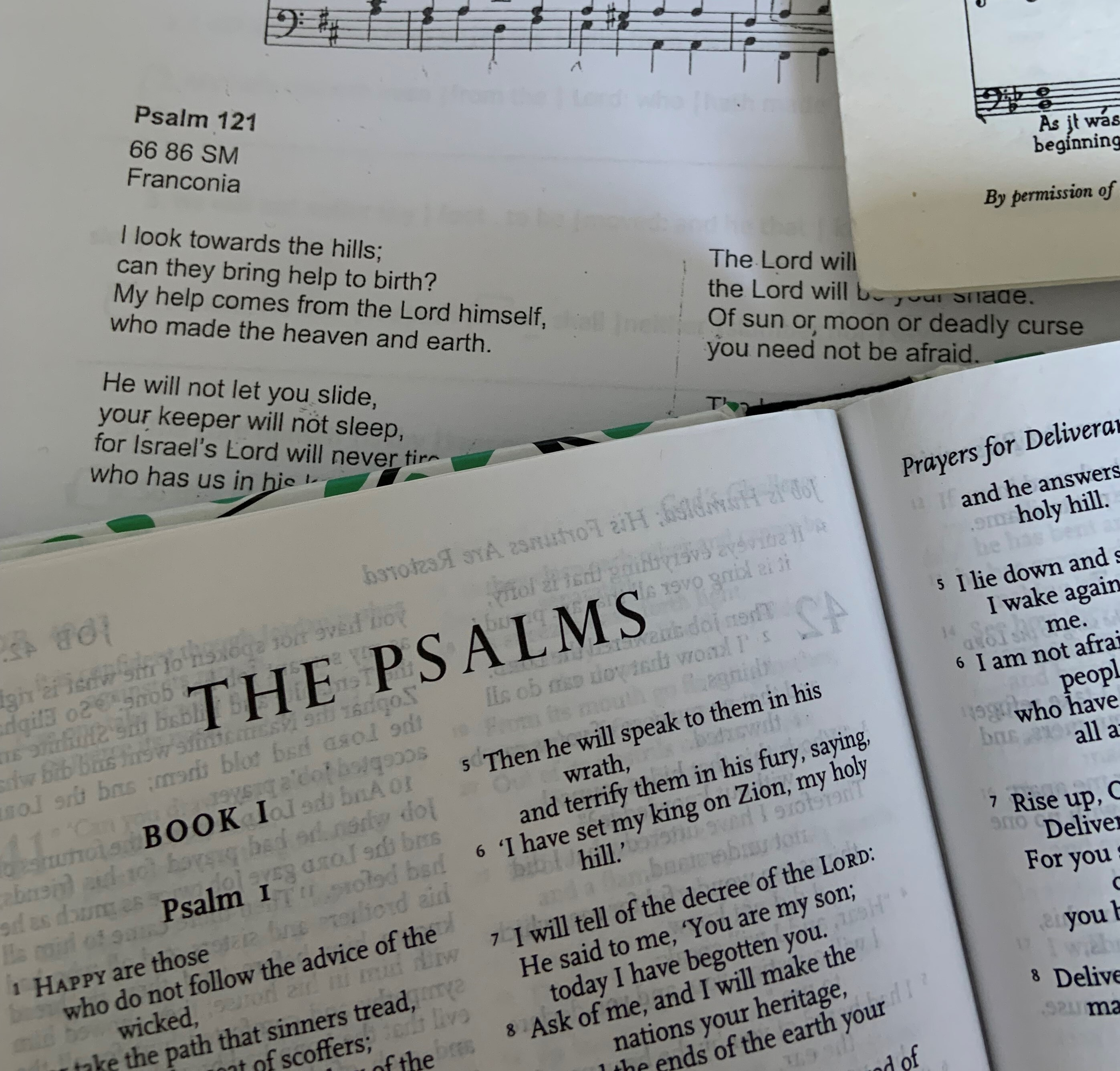 The book of psalms in a bible and psalms set to music