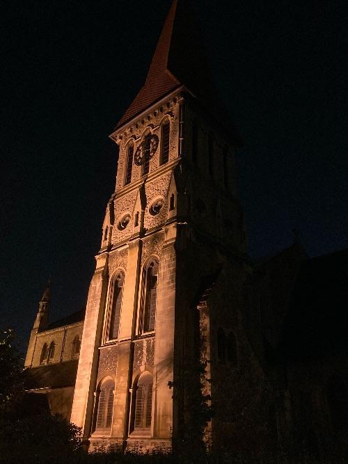 St John's Steeple lit-up in the dark