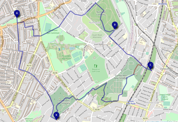 Map of Peckham Rye and surrounds showing route through Cemeteries and One Tree Hill