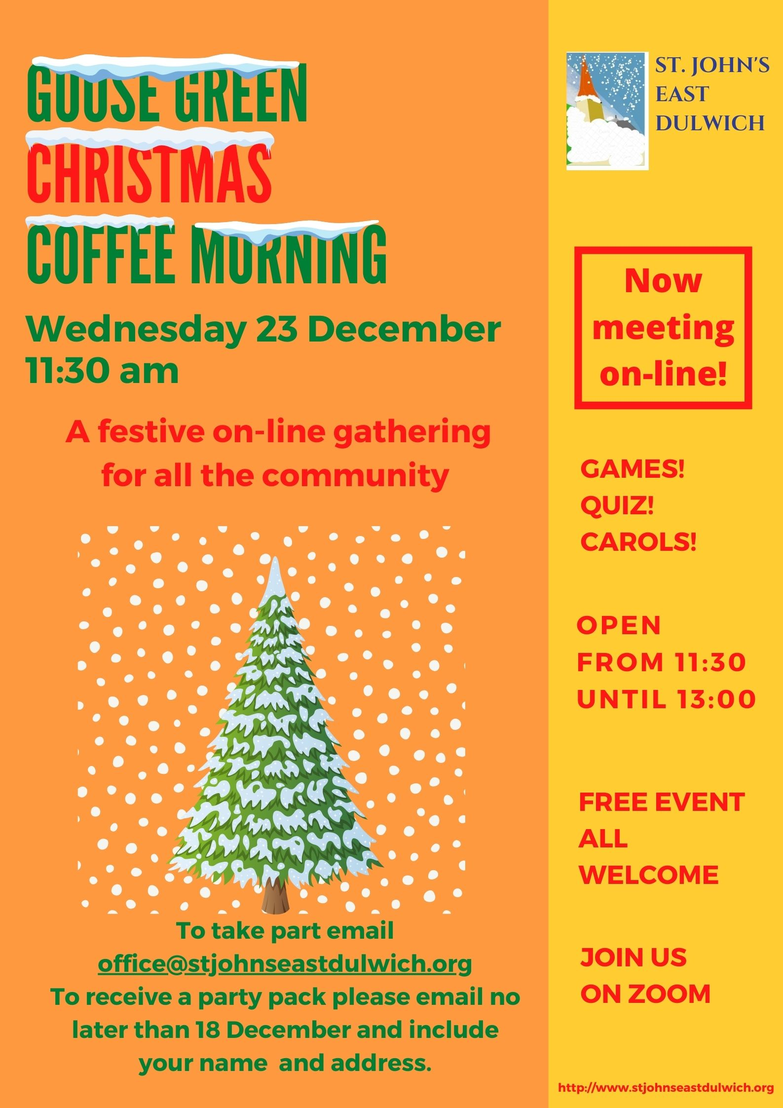 Christmas Coffee Morning Poster showing Christmas tree in the snow.