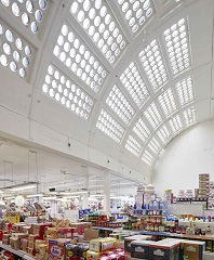 Photo showing ceiling of Khan's superstore