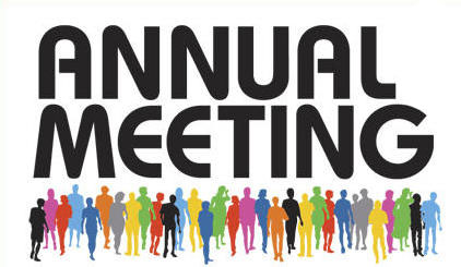 Annual meeting illustrated with sillouettes of people of people