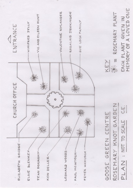 A plan showing where the knot garden is located on the church grounds