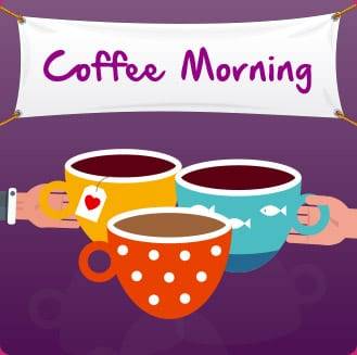 cartoon coffee cups with banner above saying coffee morning