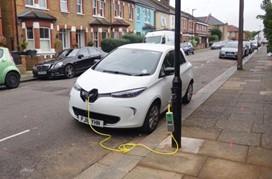 Photo of EV charging at lamppost