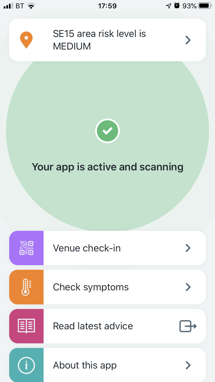 Screenshot of NHS COVID-19 app