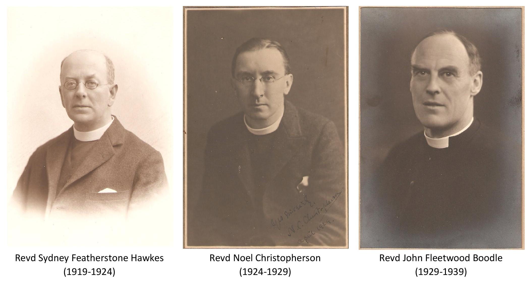 Revd Sydney Featherstone Hawkes, Revd Noel Christopherson and Revd John Fleetwood Boodle