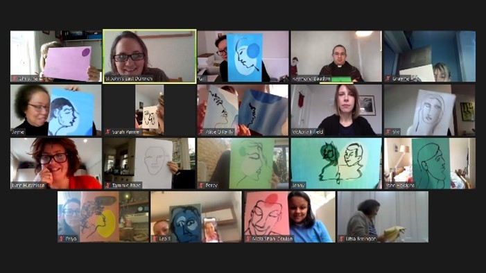 Screenshot of Coffee morning art session