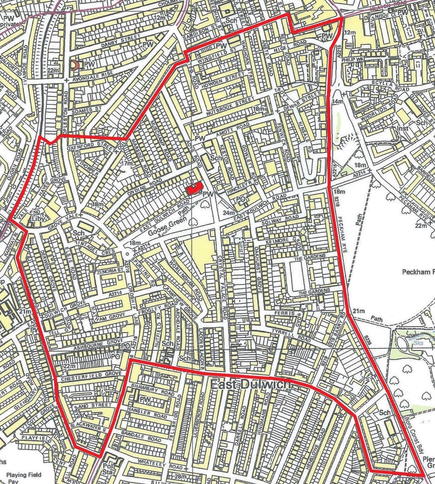 Map of parish boundary today