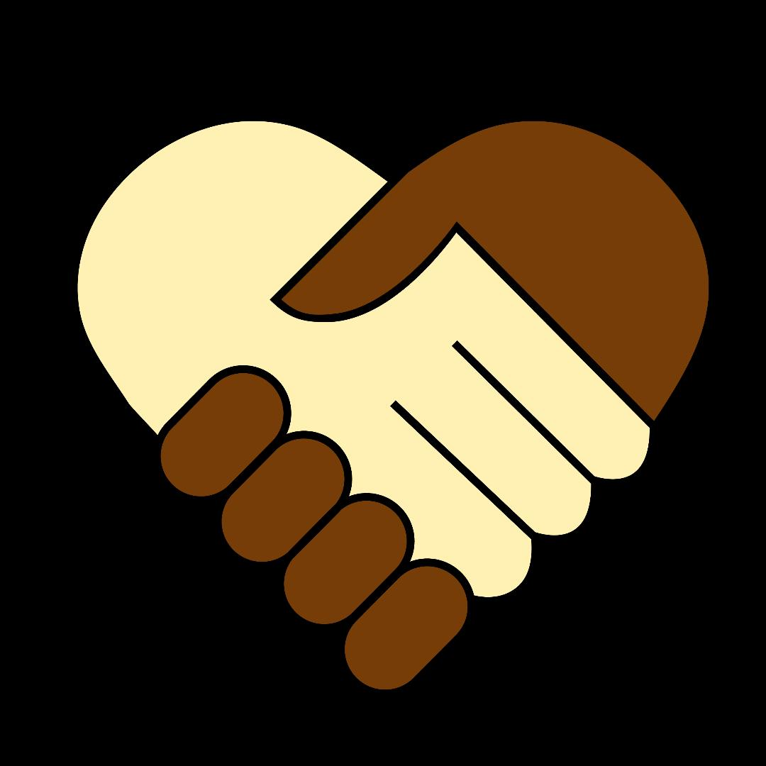 Cartoon image of a white and black handshake forming a heart