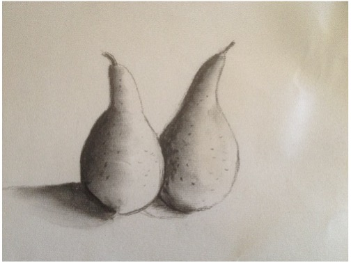 Charcoal drawing of pears