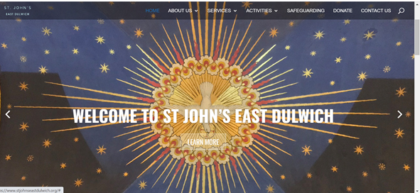 Website showing image from St John's and with text Welcome to St Johns East Dulwich