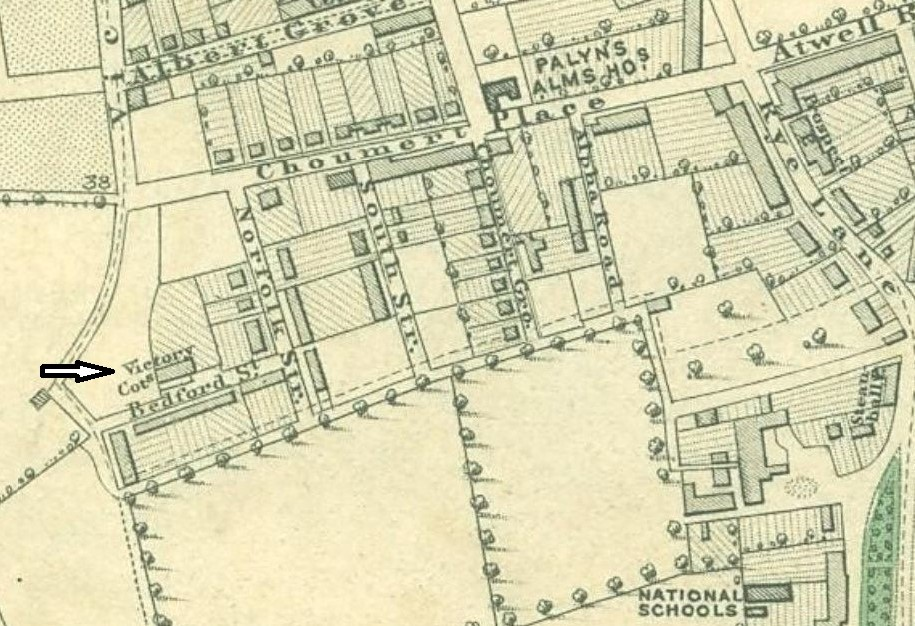 Victorian map of East Dulwich showing Victory Cottage
