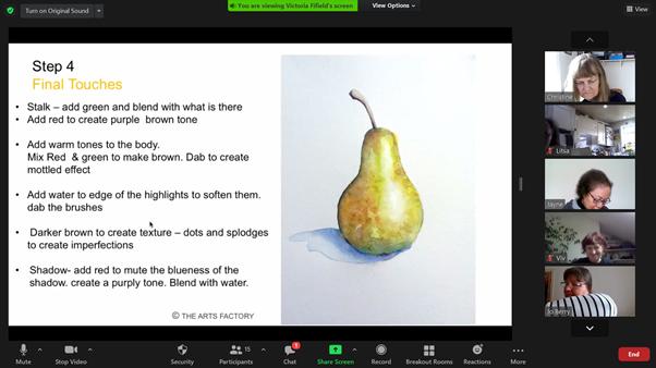 Watercolour art session slide and zoom participants