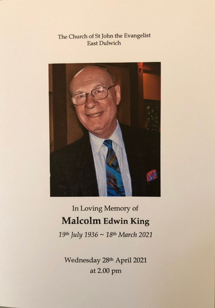 Picture of order of service for Malcolm King's funeral