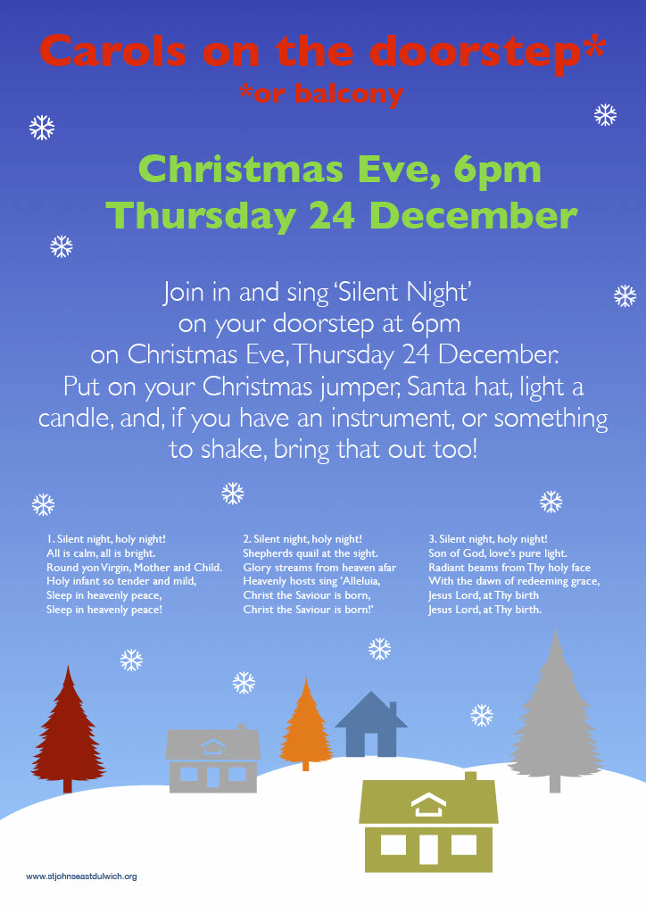 Carols on the doorstep poster showing cartoon snowy night sky, houses and trees